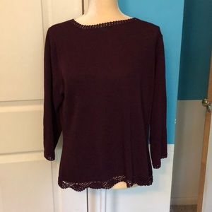 Wine color lightweight sweater with crochet detail